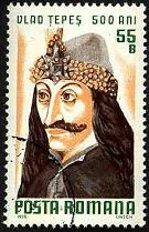 Click for blog posting (55 Bani Romanian postage stamp from 1976: 500th anniversary of Vlad the Impaler´s death)